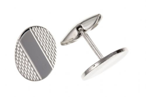 Sterling Silver Patterned Stripe Oval Cufflinks